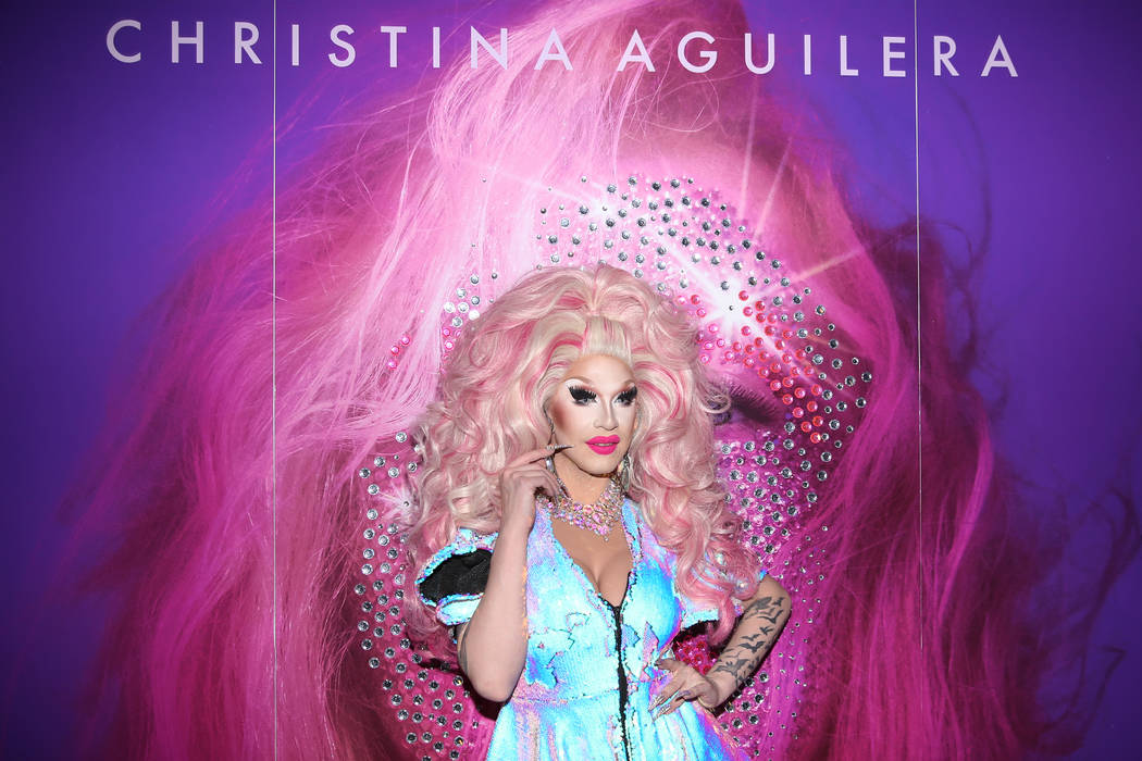 London Adour on the red carpet for the grand opening of Christina Aguilera at Planet Hollywood ...