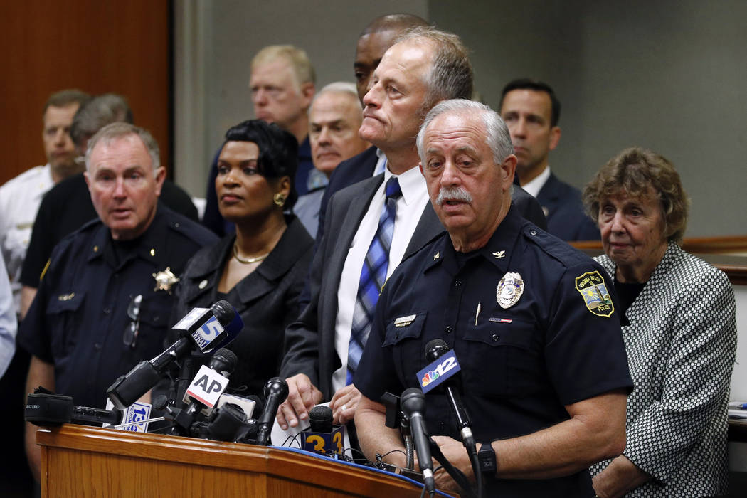 Virginia Beach Police Chief James Cervera speaks at a news conference on a shooting at a munici ...