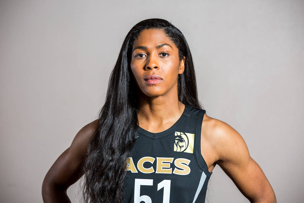 Las Vegas Aces guard Sydney Colson during the Aces media day at MGM Grand in Las Vegas on Thurs ...