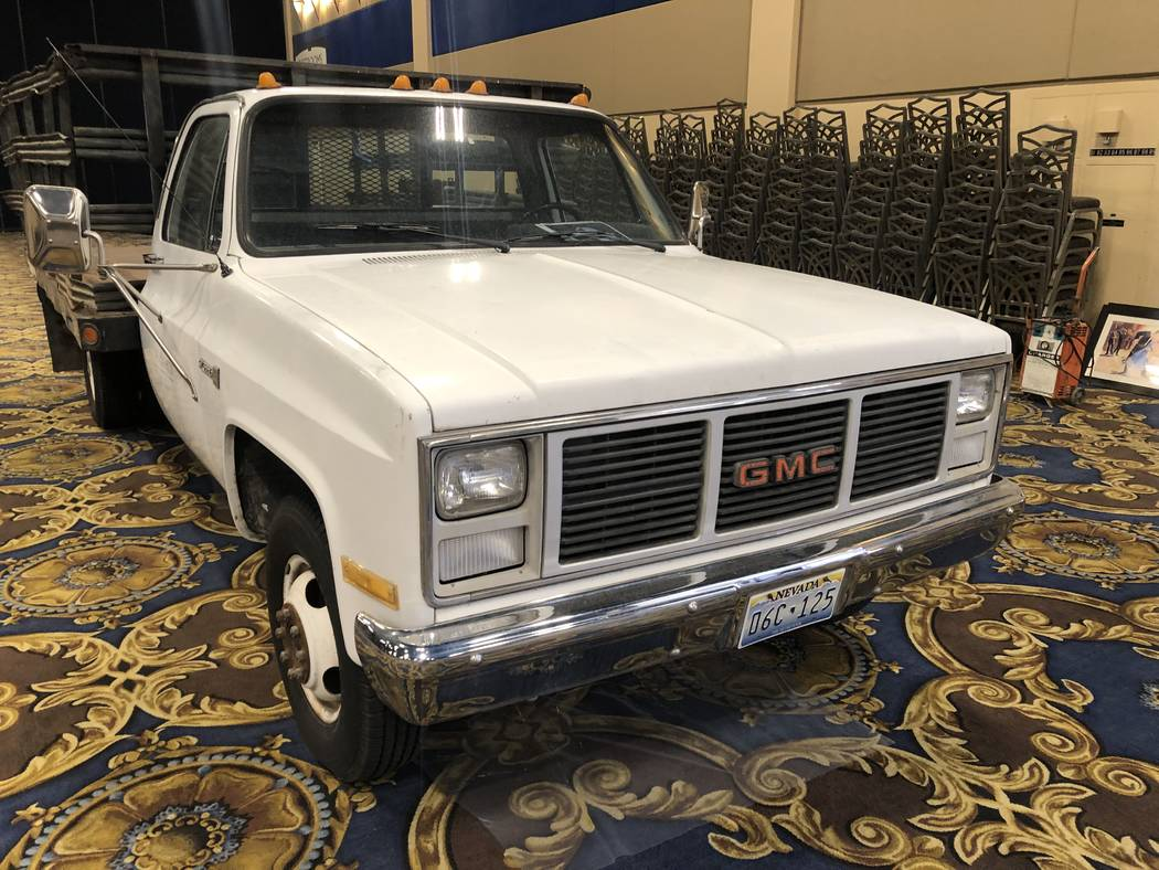 The mid-1970s GMC Sierra flatbed that went for $1,200 during the Westgate Las Vegas' Veteran Vi ...