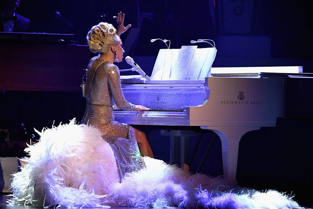 "Lady Gaga performs during her ""Jazz & Piano"" residency at Park Theater at Park MGM on Jan. 20, ..."