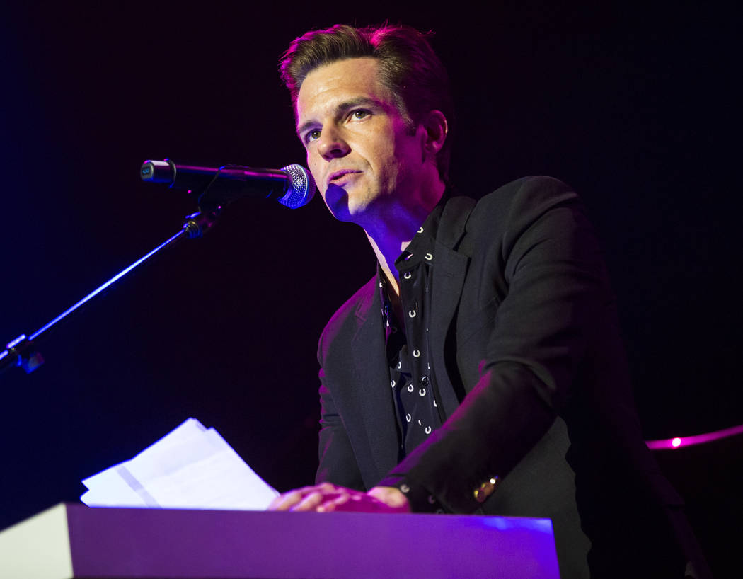 Brandon Flowers of The Killers speaks before performing inside The Joint during the first day o ...