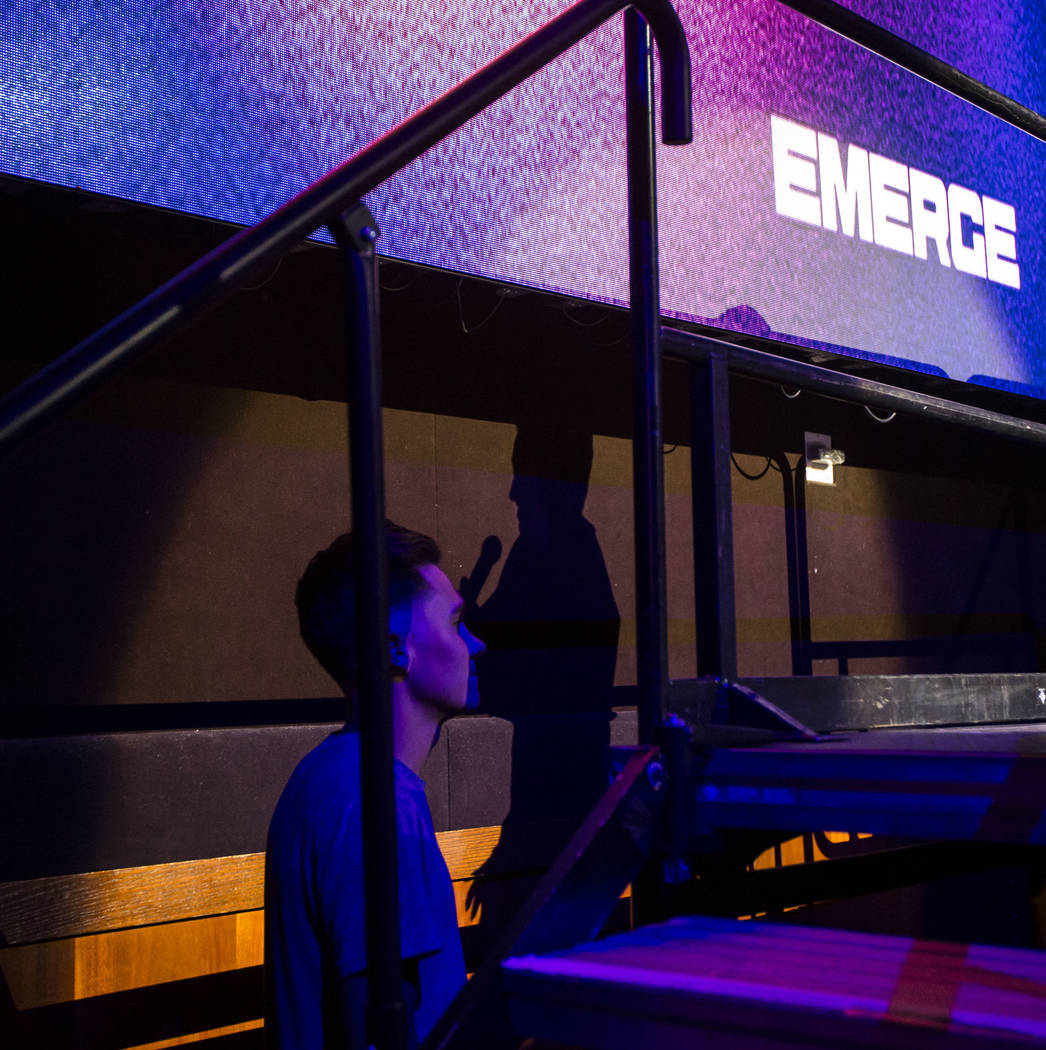 David Hogg, left, watches Emma Gonzalez speak inside The Joint during the first day of the Emer ...