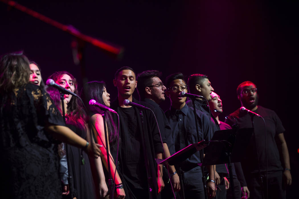 Members of the UNLV choir perform with Brandon Flowers, not pictured, inside The Joint during t ...