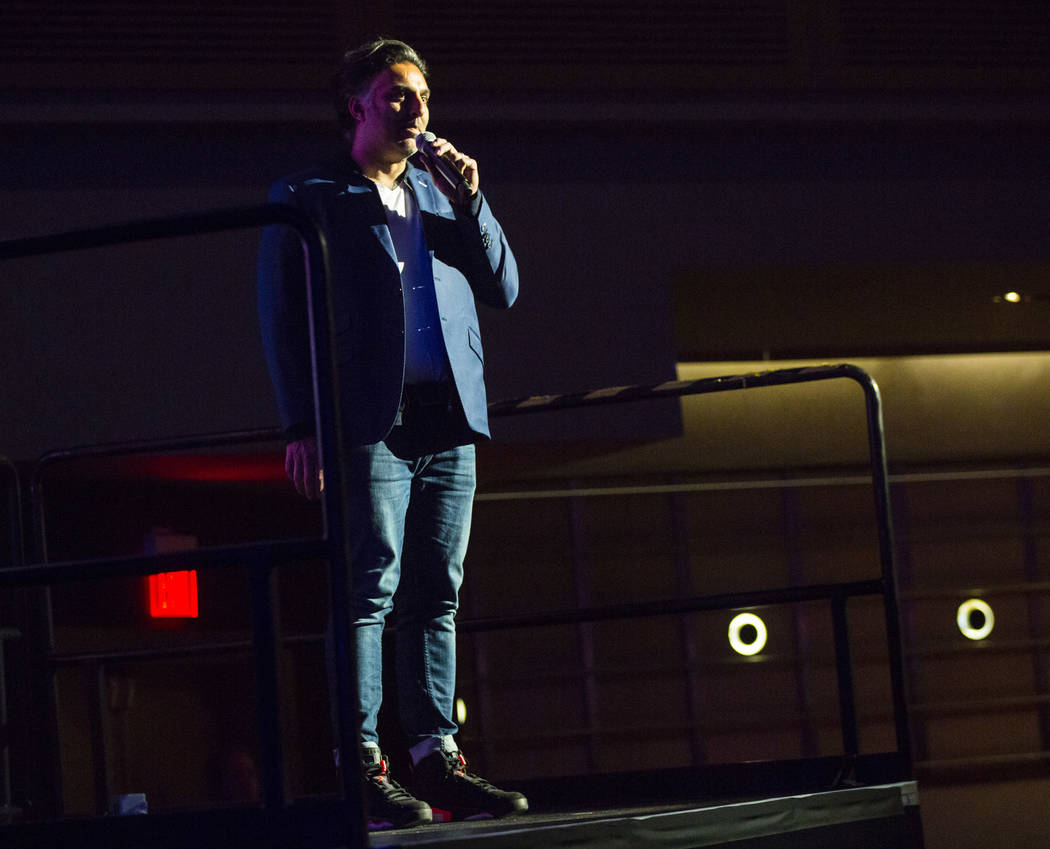 Festival founder Rehan Choudhry speaks inside The Joint during the first day of the Emerge Impa ...