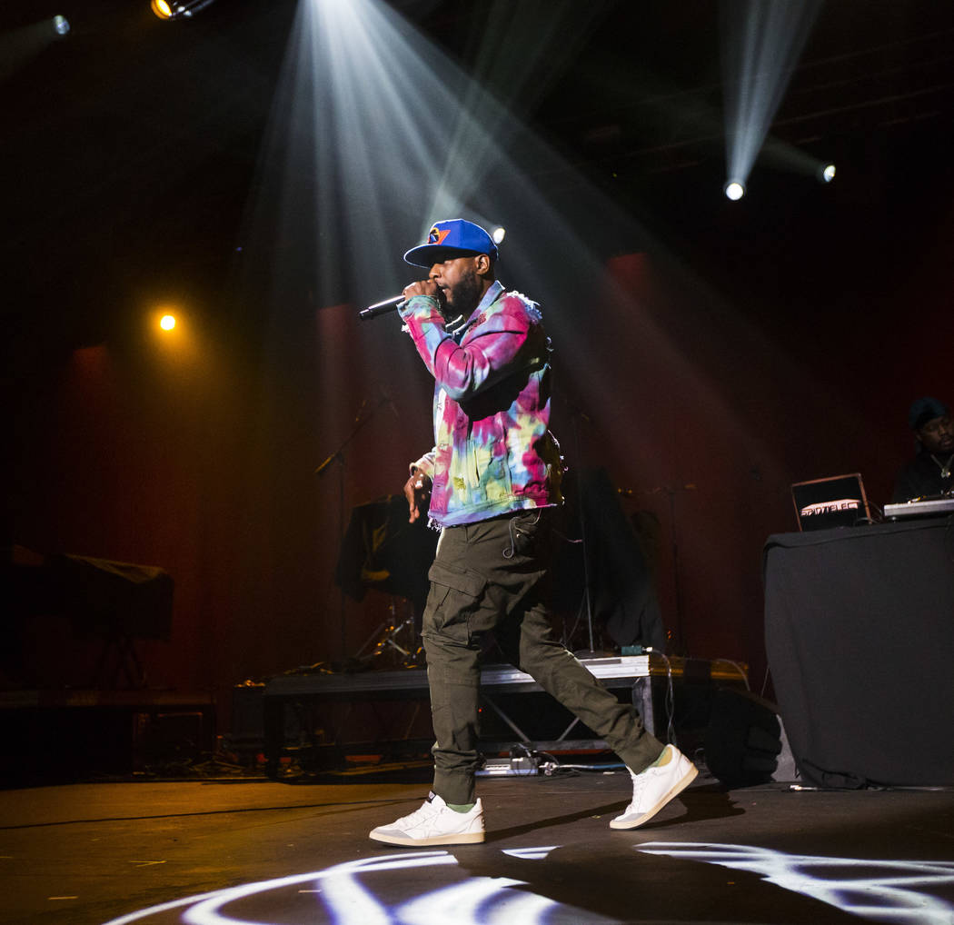 Talib Kweli performs inside The Joint during the first day of the Emerge Impact + Music confere ...