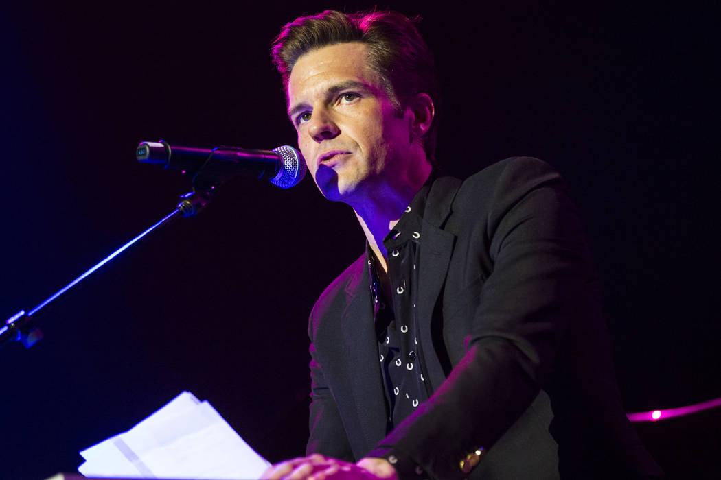 Brandon Flowers speaks before his performance inside The Joint during the first day of the Emer ...