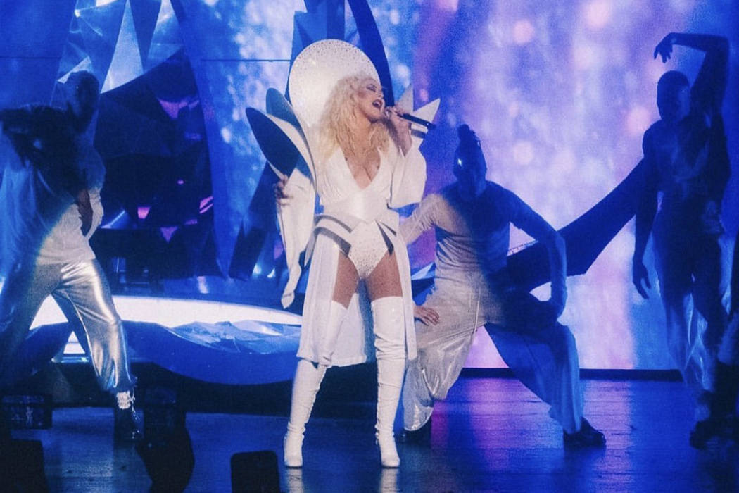 "Christina Aguilera is shown in her ""XPerience' residency at Zappos Theater at Planet Hollywood ..."