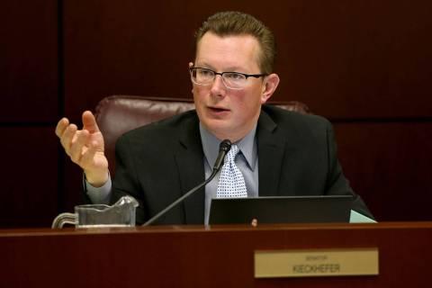 Sen. Ben Kieckhefer, R-Reno, asks a question during a Finance Committee meeting in the Legislat ...