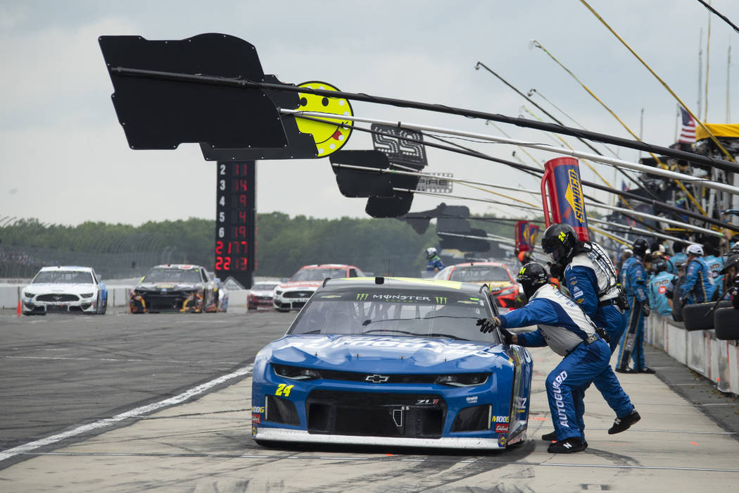 William Byron pits during a NASCAR Cup Series auto race at Pocono Raceway, Sunday, June 2, 2019 ...