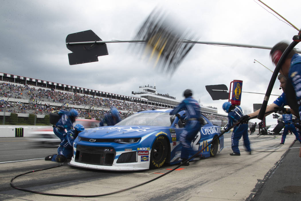 Kyle Larson pits during a NASCAR Cup Series auto race at Pocono Raceway, Sunday, June 2, 2019, ...