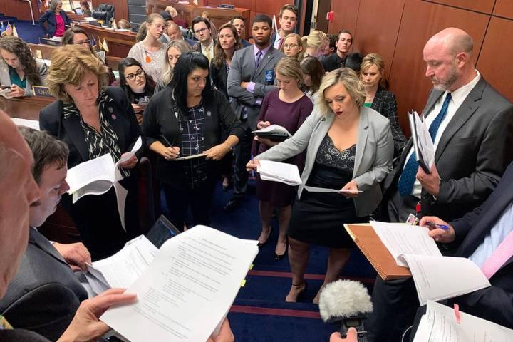 Senate Majority Leader Nicole Cannizzaro, D-Las Vegas, center, and other lawmakers meet in comm ...