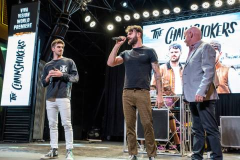 Electronic dance music duo the Chainsmokers are shown in 3rd Street Stage on Friday. May 31, 20 ...