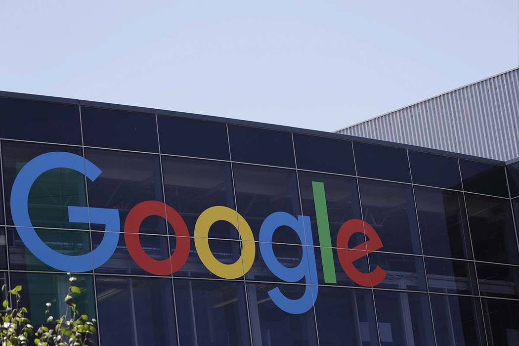 This July 19, 2016, file photo shows the Google logo at the company's headquarters in Mountain ...