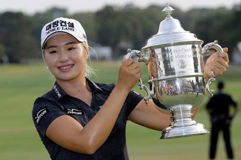 Jeongeun Lee6 of South Korea, holds the championship trophy after winning the final round of th ...