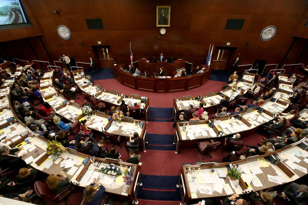 Speaker Jason Frierson, D-Las Vegas, presides over the Assembly the Legislative Building in Car ...
