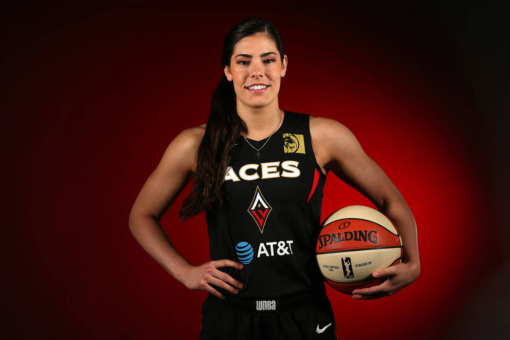 Las Vegas Aces' Kelsey Plum at the Mandalay Bay Events Center in Las Vegas, Thursday, May 23, 2 ...