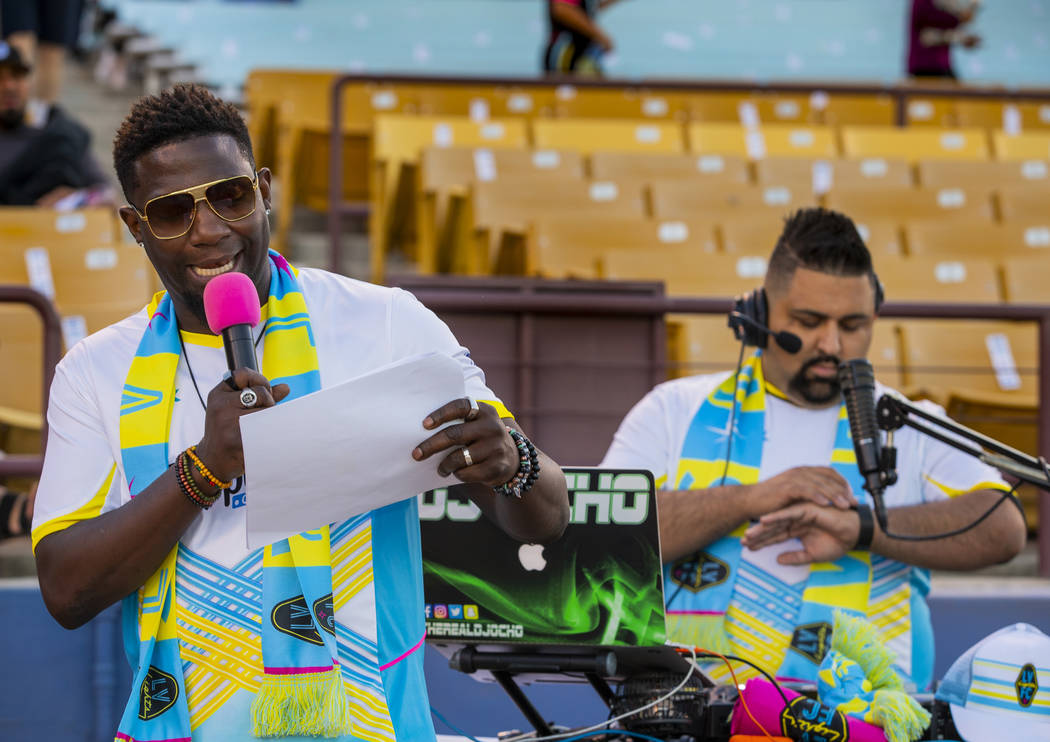 "Las Vegas Lights FC hype man Robert ""Bojo"" Ackah keeps the fans informed on the day's events wi ..."