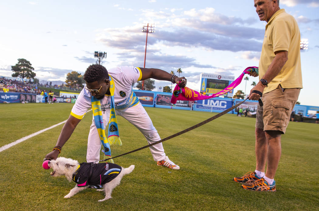 "Bark-Andre Furry barks for the fans as Las Vegas Lights FC hype man Robert ""Bojo"" Ackah and Fur ..."