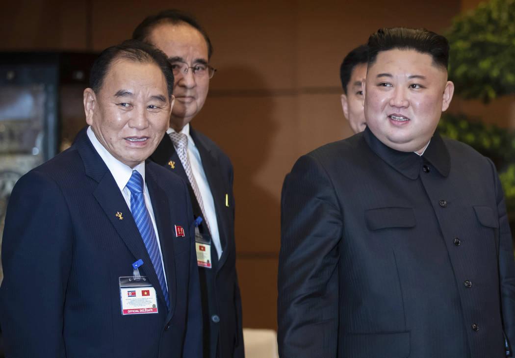 FILE - In this March 1, 2019, file photo, North Korean leader Kim Jong Un, right, accompanied b ...
