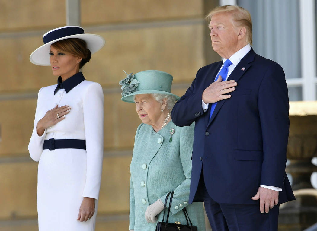 US President Donald Trump and first lady Melania Trump attend a welcome ceremony with Britain's ...