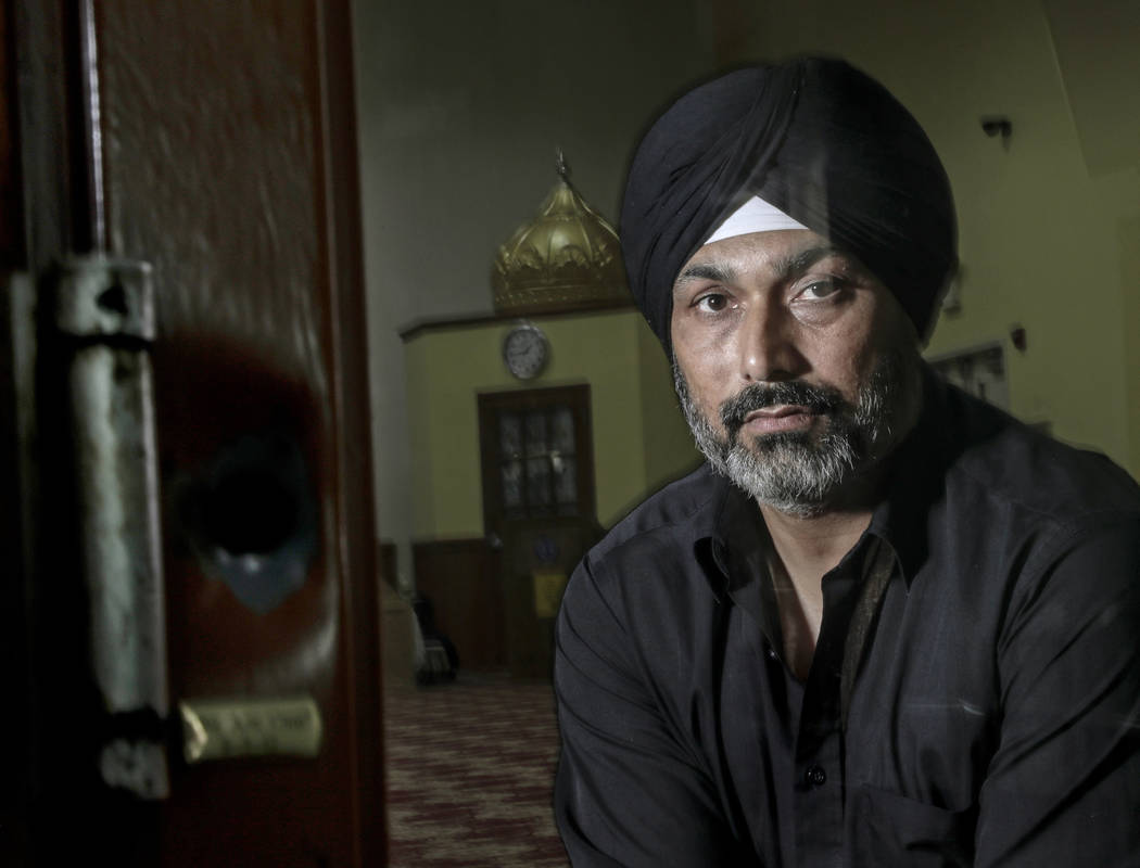 In this Saturday, June 1, 2019 photo, Pardeep Singh Kaleka poses for a portrait in the Sikh Tem ...