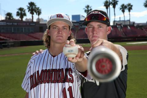 John Sharman, left, 17, and his brother Jason, 19, at UNLV's Earl E. Wilson Stadium in Las Vega ...