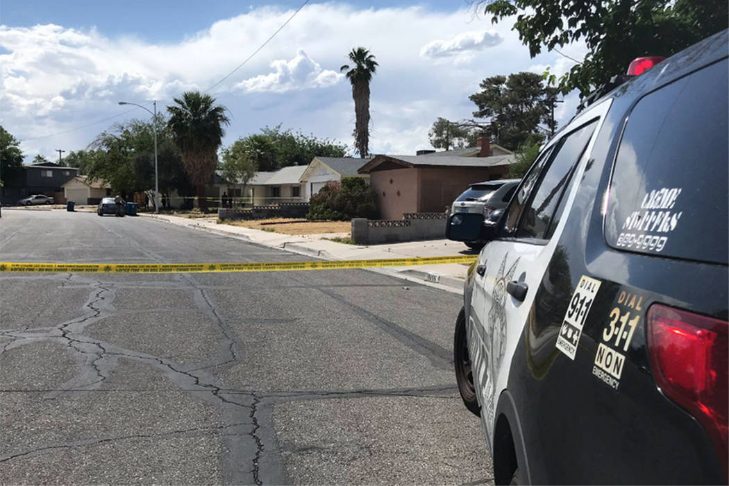 Police investigate a man's death at a home in the 4700 block of Marnell Drive in Las Vegas on F ...