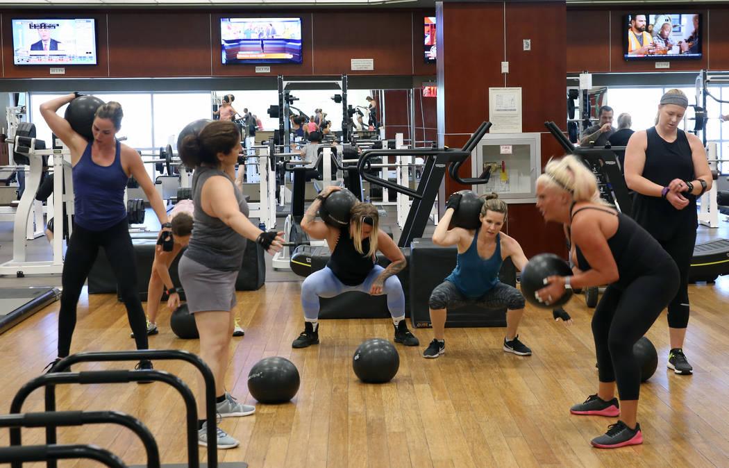 Members at Lifetime Athletic workout on Monday, June, 3 2019, in Henderson. (Bizuayehu Tesfaye/ ...