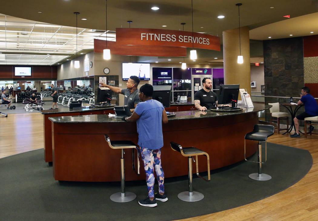 Lifetime Athletic's fitness service desk is seen on Monday, June, 3 2019, in Henderson. (Bizuay ...