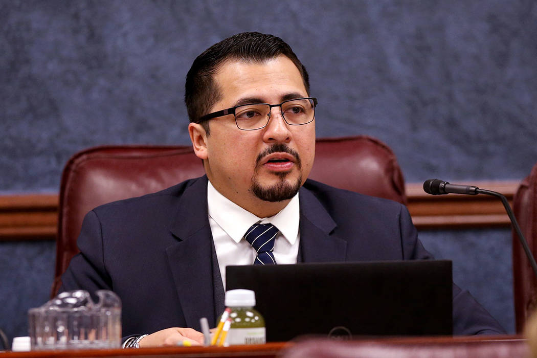 Assemblyman Edgar Flores, D-Las Vegas, leads an Assembly Government Affairs Committee meeting i ...