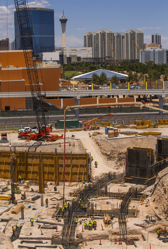 Construction workers lay and pour tie beams continues for the MSG Sphere at their Venetian buil ...