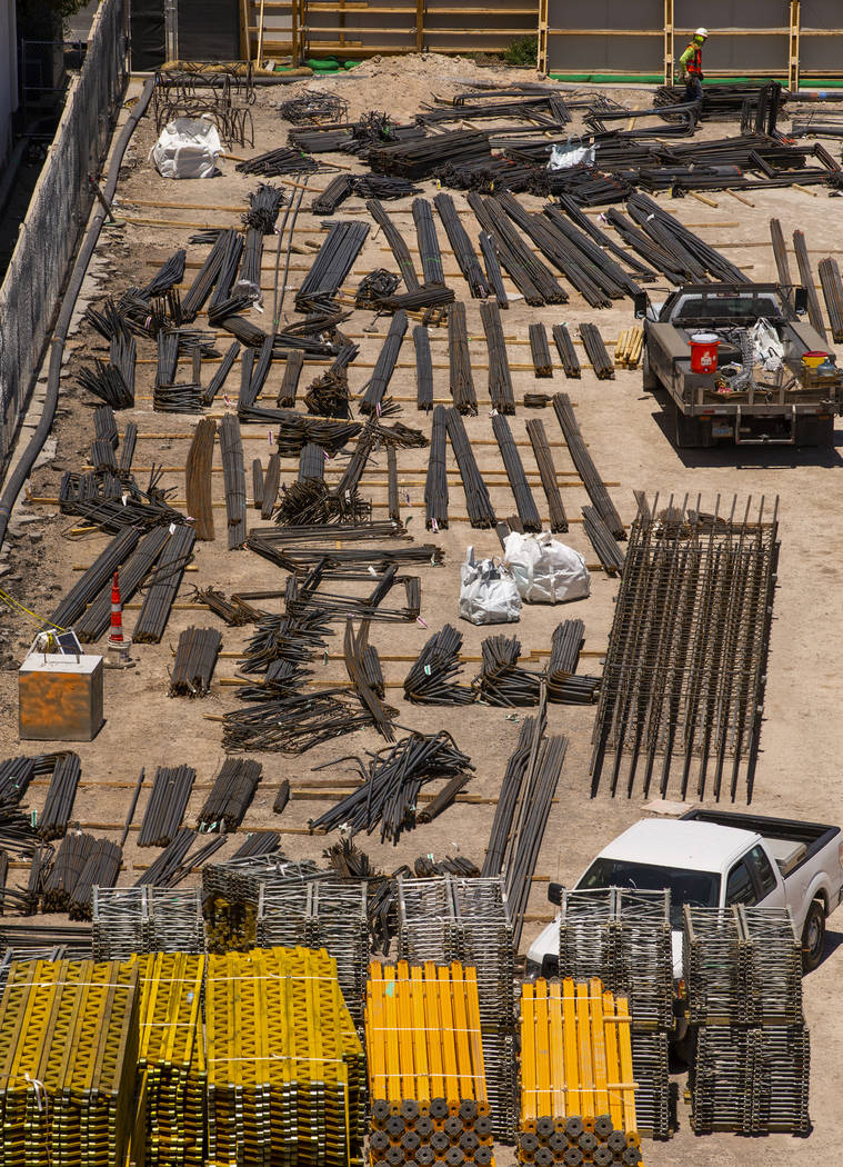 Piles of rebar and other steel awaits usage as construction continues for the MSG Sphere at the ...