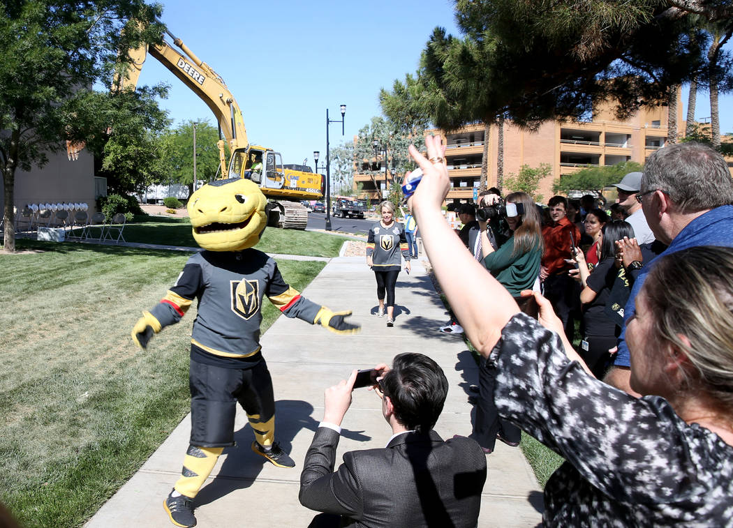 Vegas Golden Knights mascot Chance arrives at the Henderson Convention Center for a demolition ...