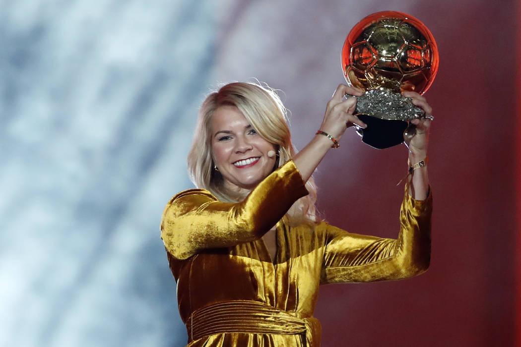 FILE - In this Dec. 3, 2018, file photo, Olympique Lyonnais soccer player Ada Hegerberg celebra ...