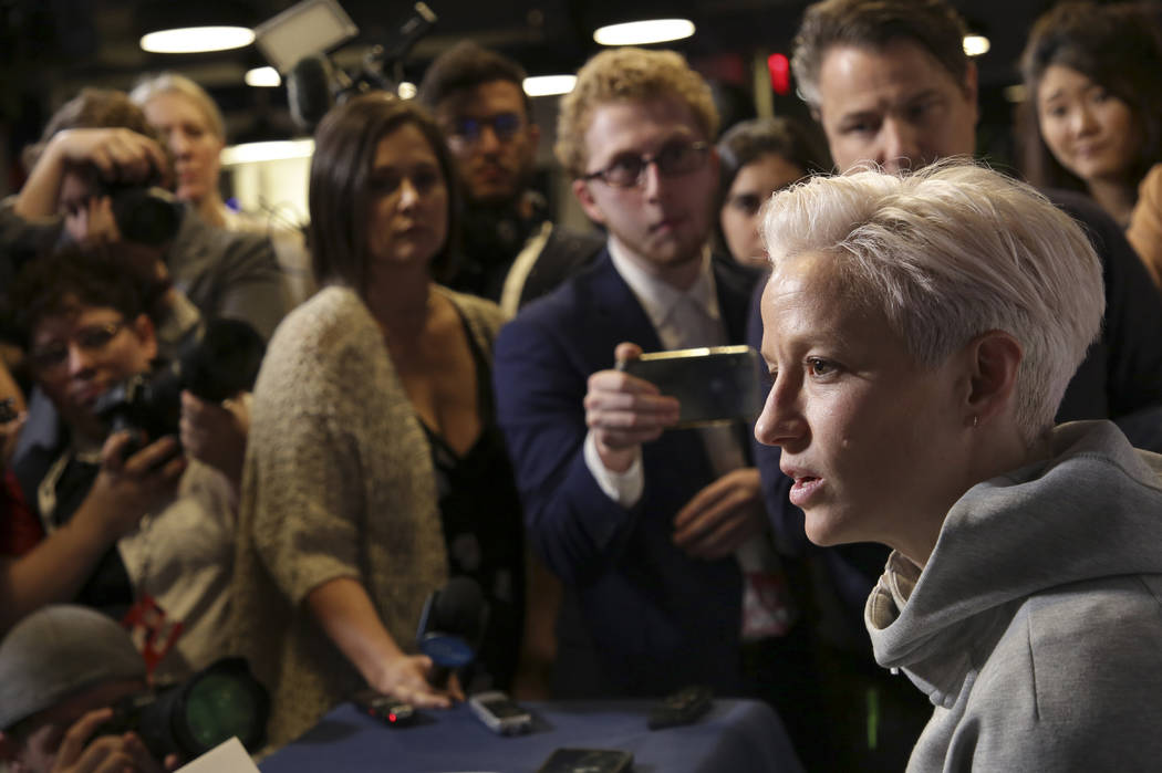 FILE - In this May 24, 2019, file photo, Megan Rapinoe, a member of the United States women's n ...
