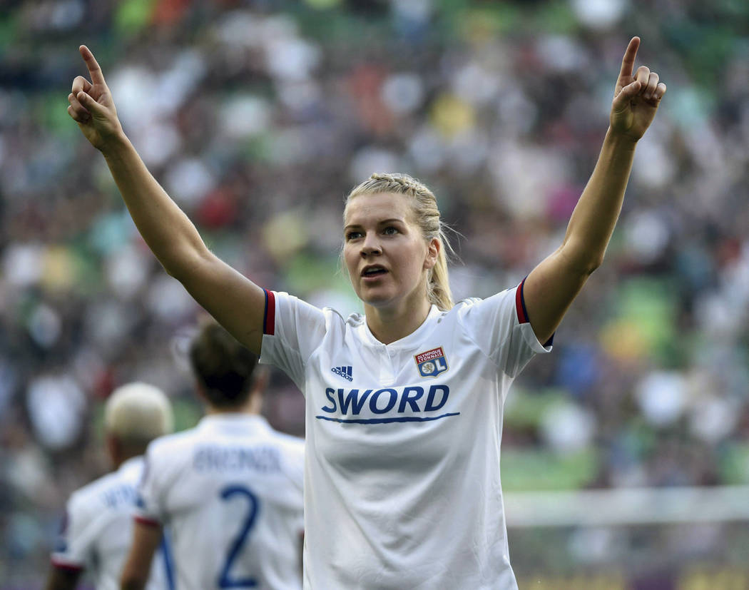 FILE - In this May 18, 2019, file photo, Lyon soccer player Ada Hegerberg, of Norway, celebrate ...