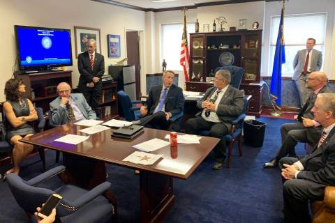 The Republican Senate caucus at a Monday, June 3, 2019, meeting with reporters following the Se ...