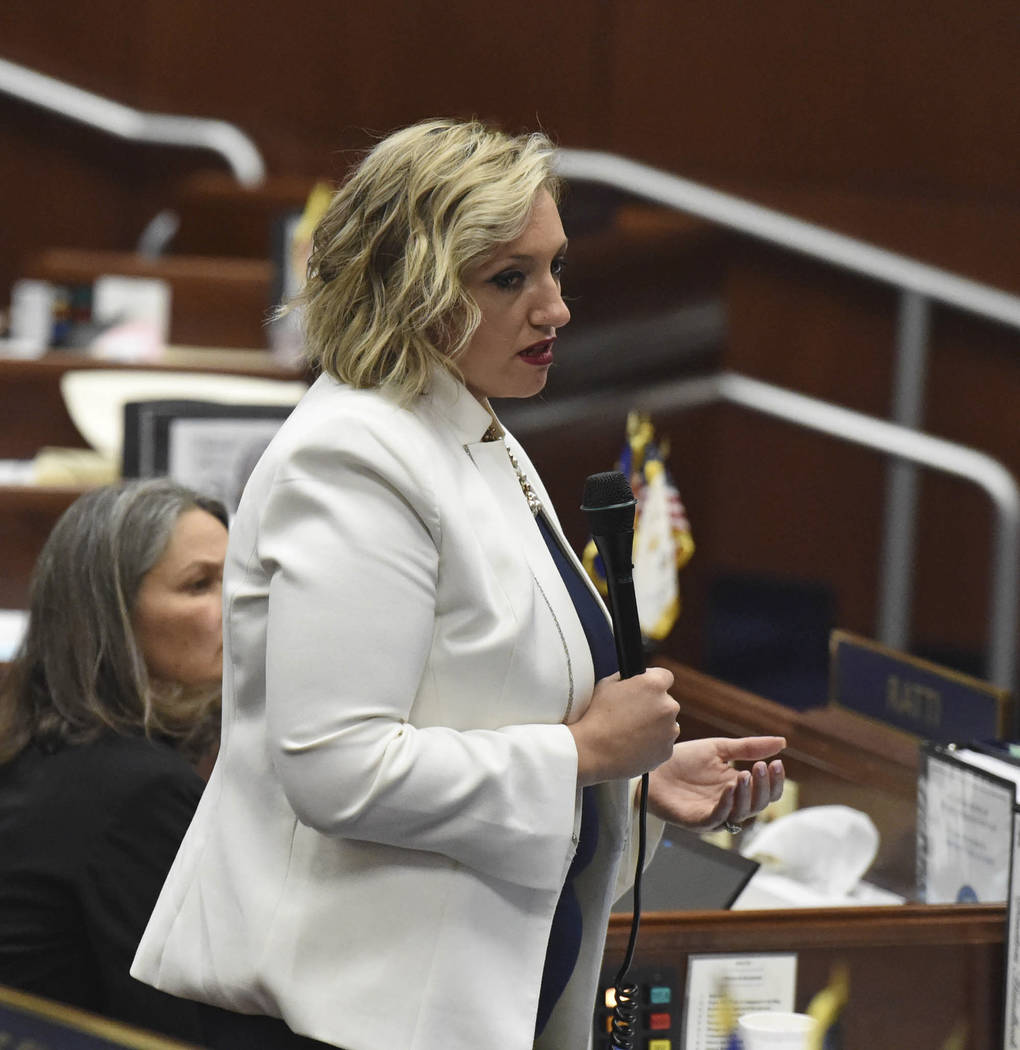 Nevada state Sen. Nicole Cannizzaro makes a push for education bill 551 on the last day of the ...