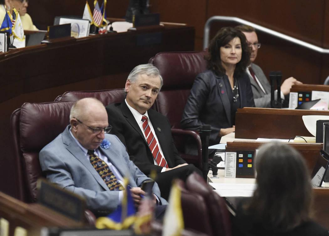 Nevada state senators listen as Senator Nicole Cannizzaro makes a push for the education bill 5 ...