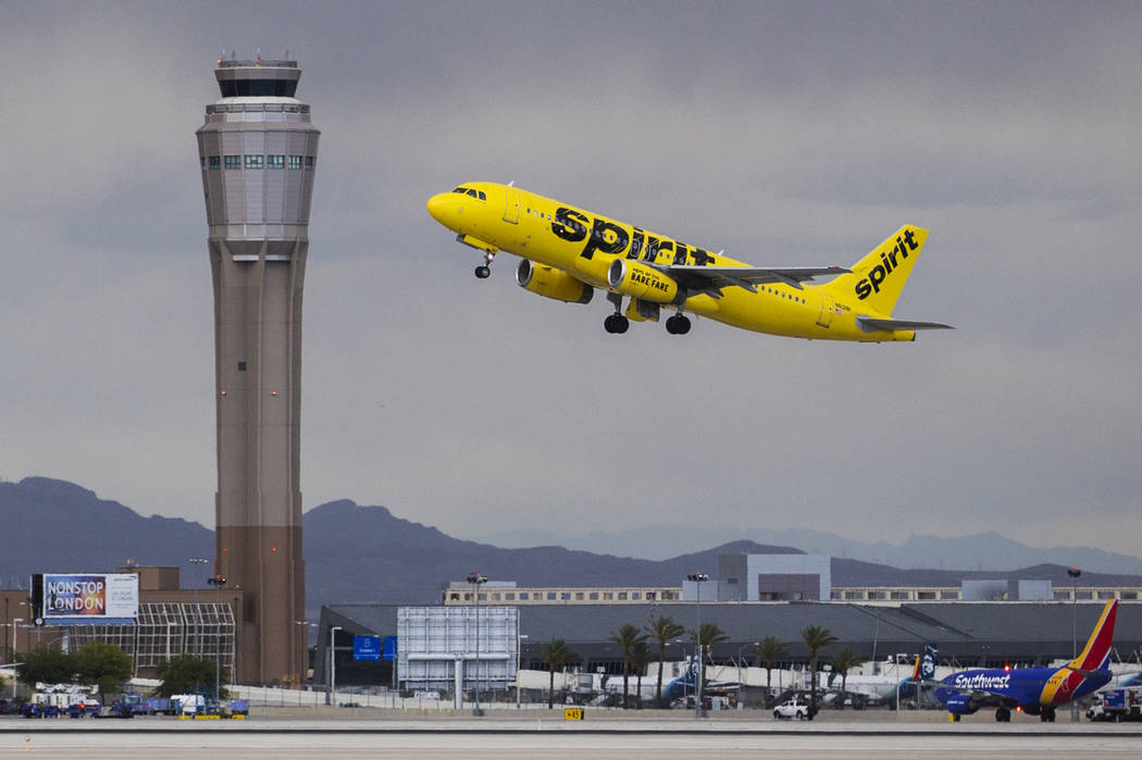 A Spirit Airlines aircraft takes off from McCarran International Airport on Tuesday, May 21, 20 ...