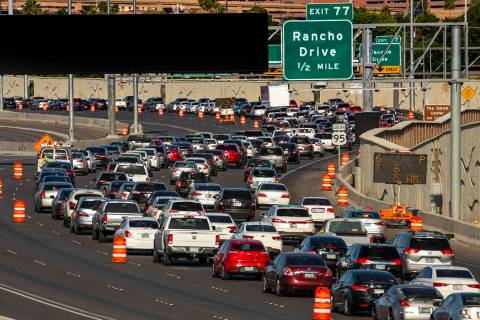 Traffic lanes are reduced on U.S. Highway 95 approaching Rancho Drive as paving efforts related ...