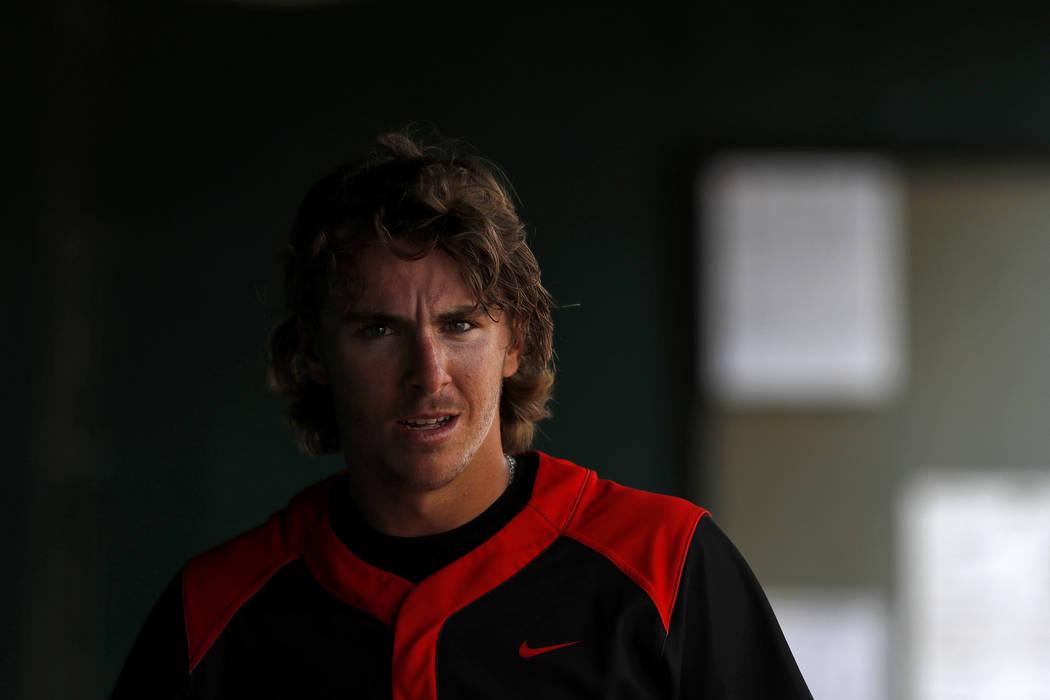UNLV's Bryson Stott (10) looks on during an UNLV at University of Houston NCAA college baseball ...