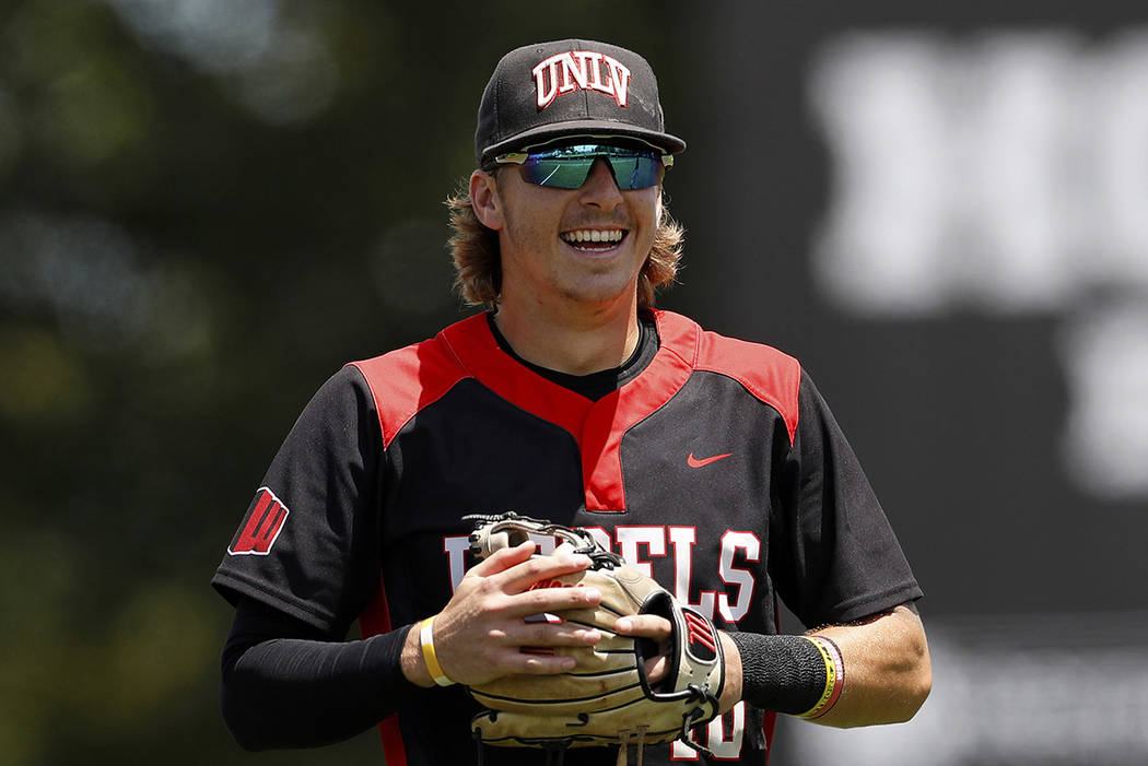 In this Sunday, May 5, 2019, file photo, UNLV's Bryson Stott (10) smiles prior to an NCAA colle ...