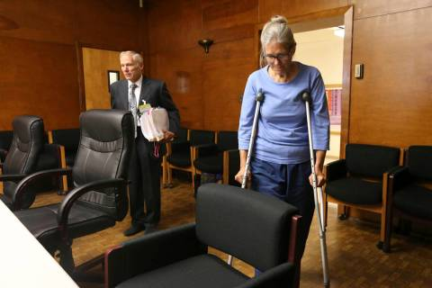 File - In this Sept. 6, 2017, file photo, Leslie Van Houten enters with her attorney Rich Pfeif ...