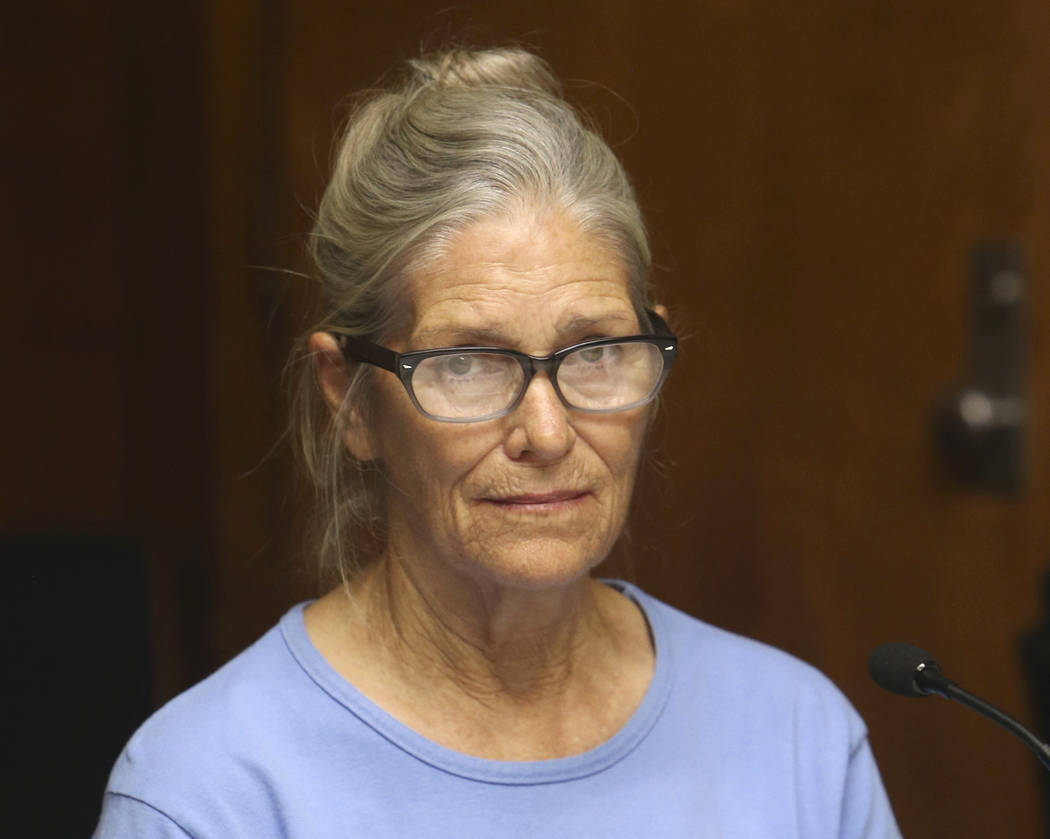 FILE - In this Sept. 6, 2017, file photo, Leslie Van Houten attends her parole hearing at the C ...
