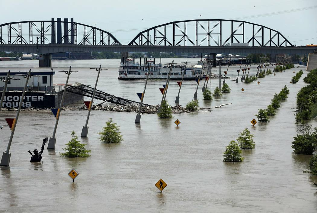 Water from the Mississippi River floods Leonor K. Sullivan Boulevard, Saturday, June 1, 2019, i ...