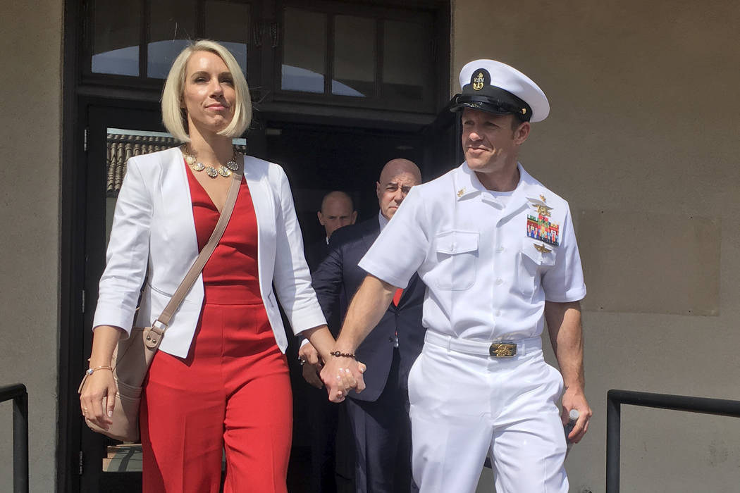 Navy Special Operations Chief Edward Gallagher leaves a military courtroom on Naval Base San Di ...