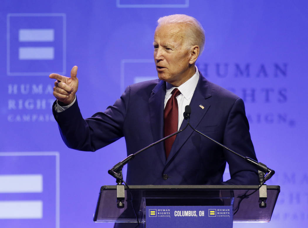 Democratic presidential candidate, former Vice President Joe Biden speaks during the Human Righ ...