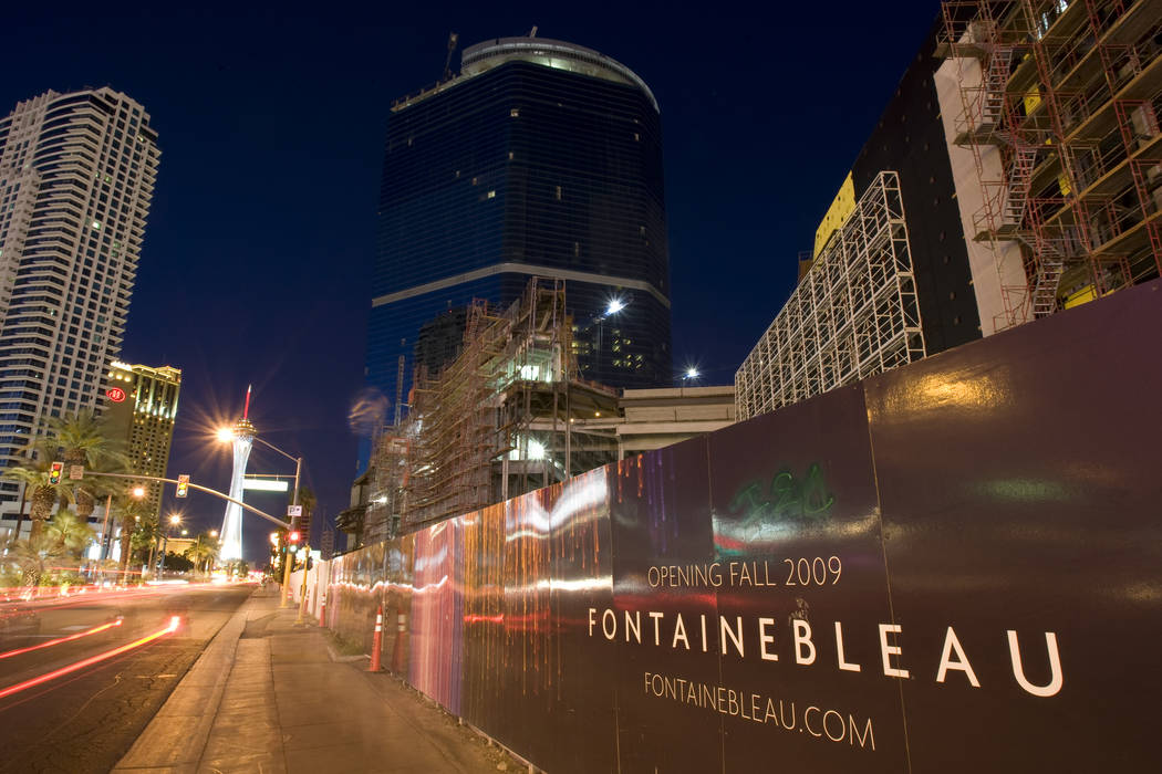 The unfinished Fontainebleau resort is seen on the Las Vegas Strip on April 23, 2009. (K.M. Can ...